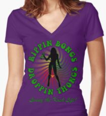 Rippin Bongs-1 (solid) Women's Fitted V-Neck T-Shirt
