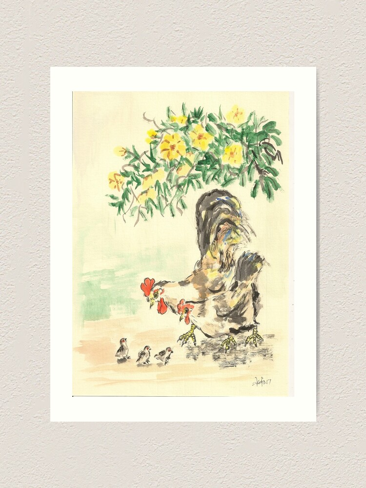 Alternate view of Chickens and Yellow Flowers Art Print