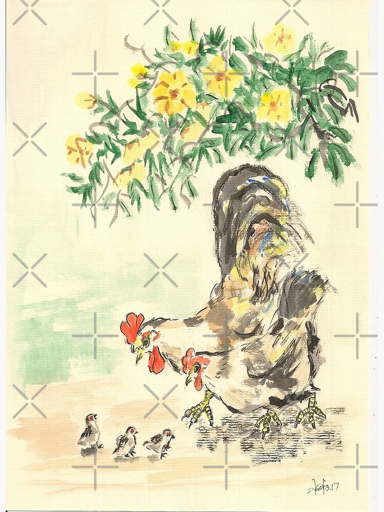 Chickens and Yellow Flowers by whya