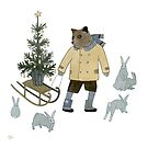 Bear, Christmas Tree and Bunnies by Yuliya Art