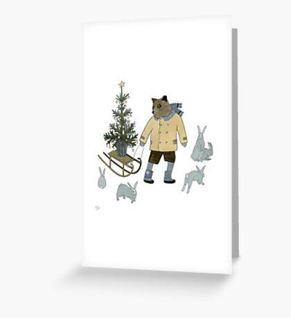 Bear, Christmas Tree and Bunnies Greeting Card
