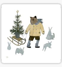 Bear, Christmas Tree and Bunnies Sticker