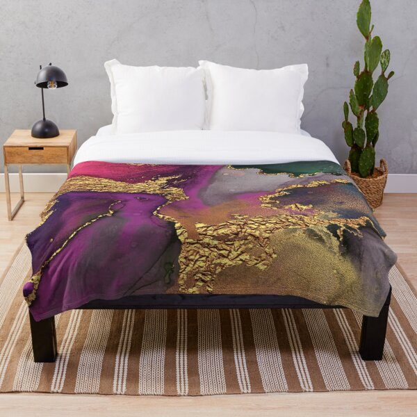 Shiny Dark Purple and Gold Ink Marble  Throw Blanket
