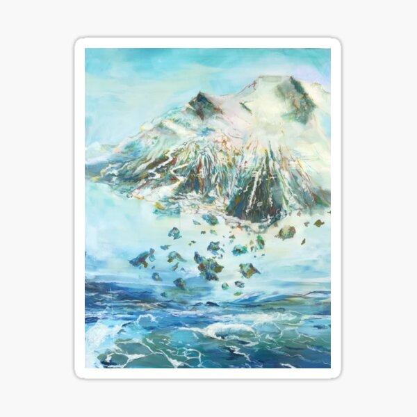 Ein Berg fliegt über dem Ozean Sticker