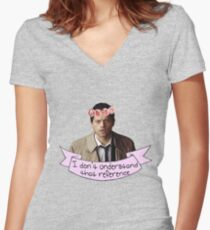 Castiel doesn't understand your reference Women's Fitted V-Neck T-Shirt