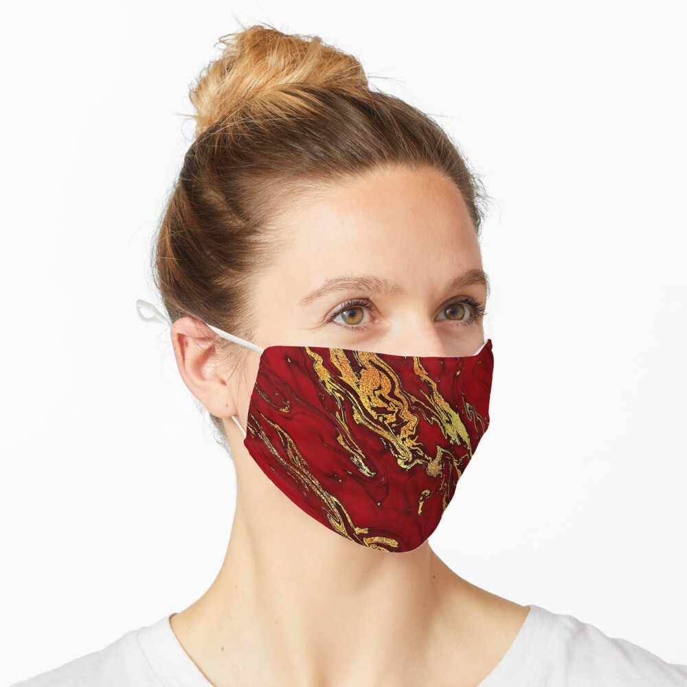 Fire Red And Gold Marble  Mask