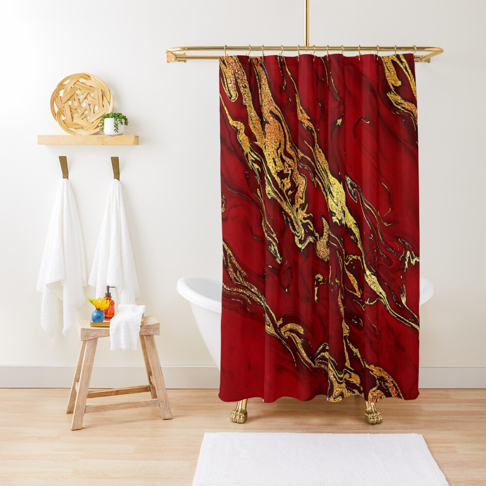 Fire Red And Gold Marble  Shower Curtain