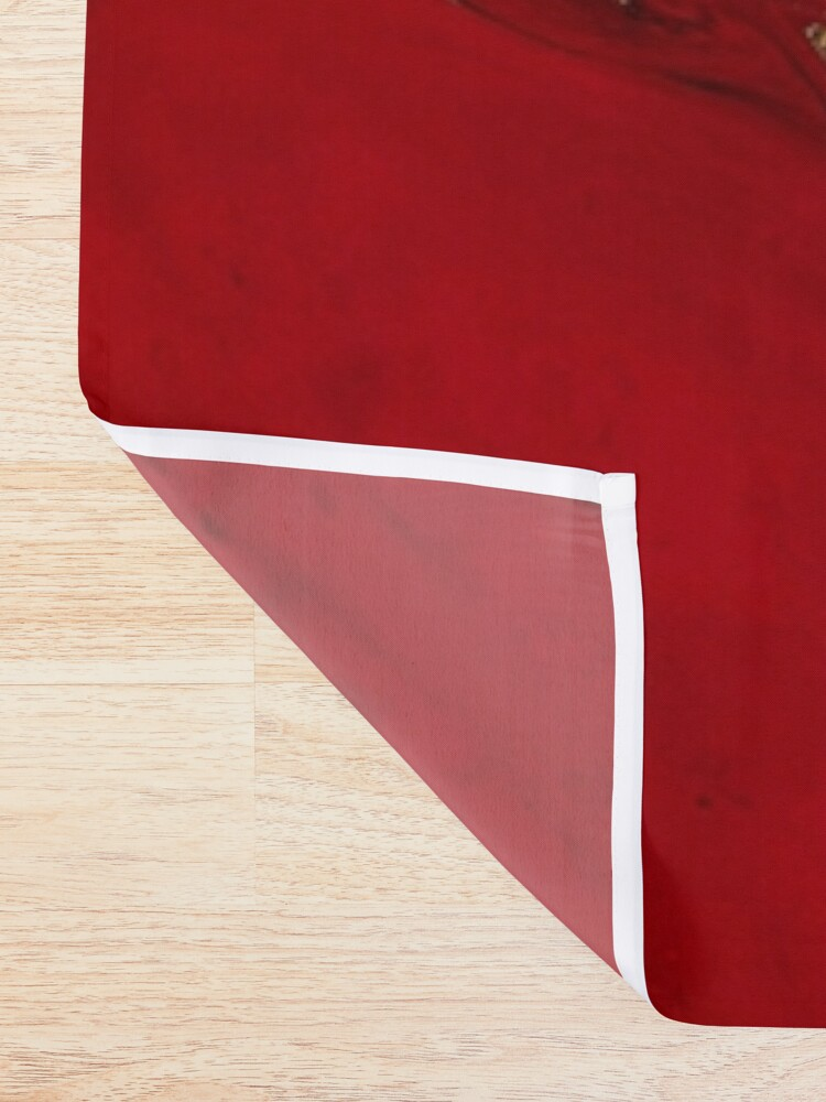 Alternate view of Fire Red And Gold Marble  Shower Curtain