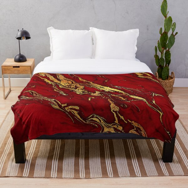 Fire Red And Gold Marble  Throw Blanket
