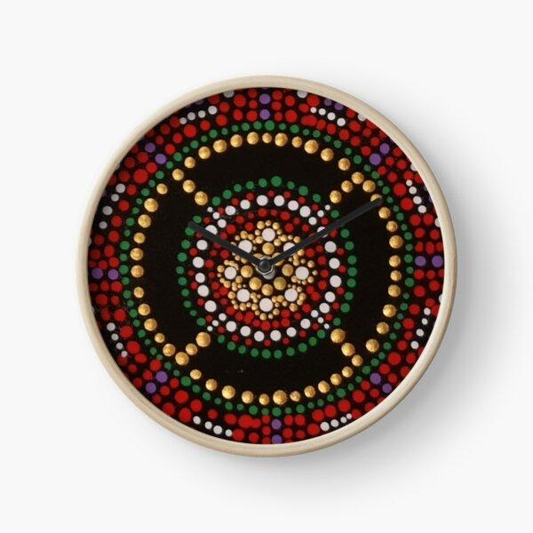 Red Gold Black Mandala Clock