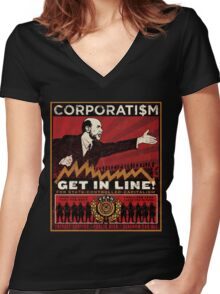 Corporatism Women's Fitted V-Neck T-Shirt
