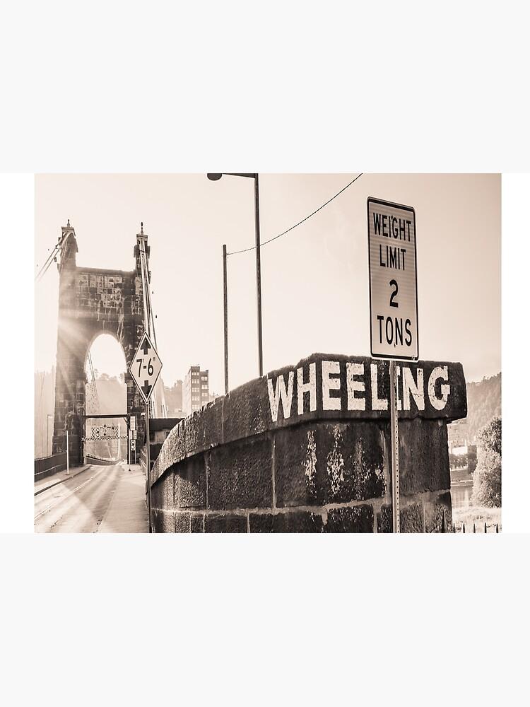 Wheeling Suspension Bridge West Virginia Vintage Sign Photograph by rbaaronmattie