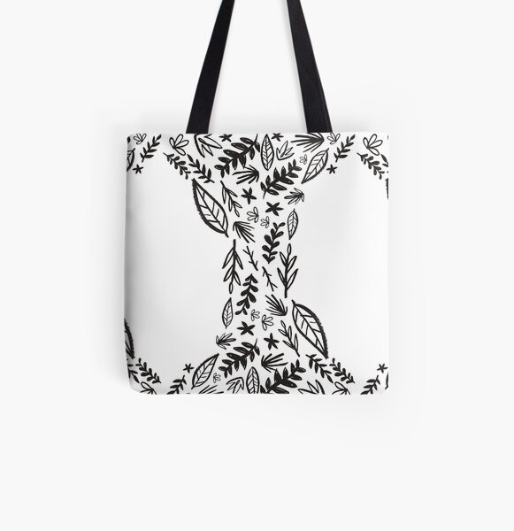 Black and white tribal pattern flower All Over Print Tote Bag