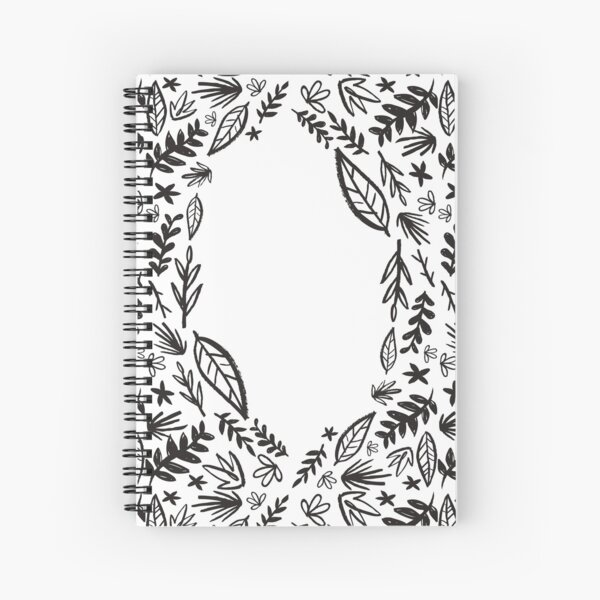 Black and white tribal pattern flower Spiral Notebook