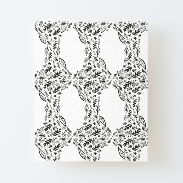 Black and white tribal pattern flower Canvas Mounted Print