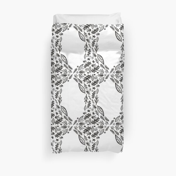 Black and white tribal pattern flower Duvet Cover