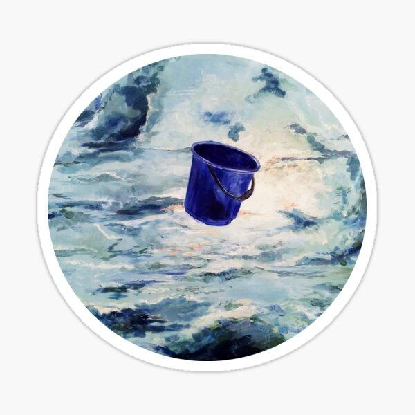 Ein blauer Eimer fliegt durch die Wolken Sticker