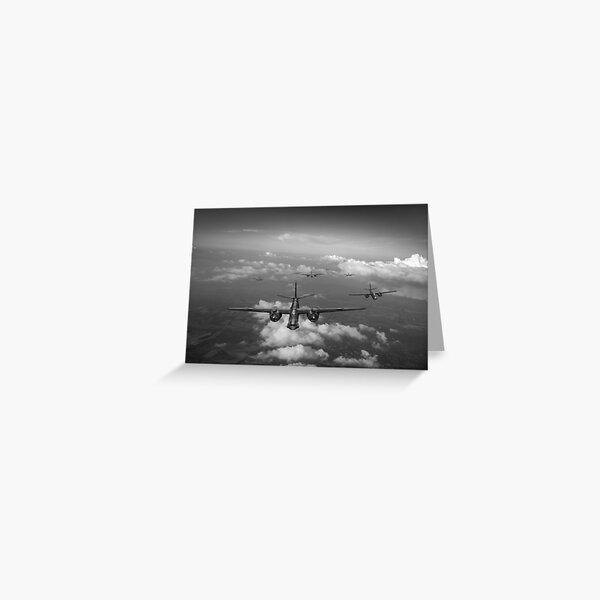 RAF Bostons at medium altitude black and white version Greeting Card