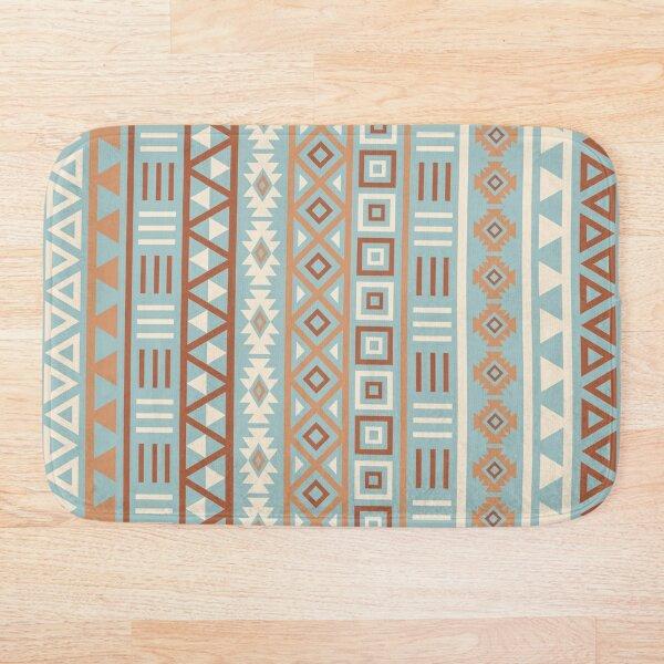 Aztec Influence II Pattern Terracottas Cream Blue Bath Mat