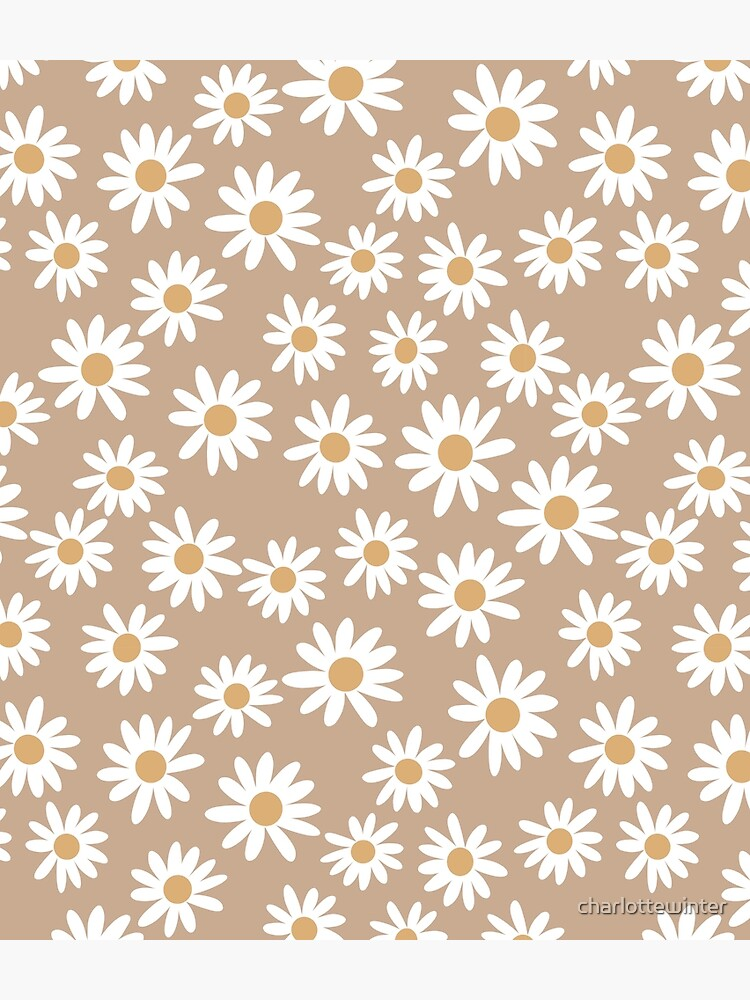 Light Daisies - daisy pattern, floral, florals, flower, retro, vintage, 70s, camel, brown, rust, earthy, terracotta by charlottewinter