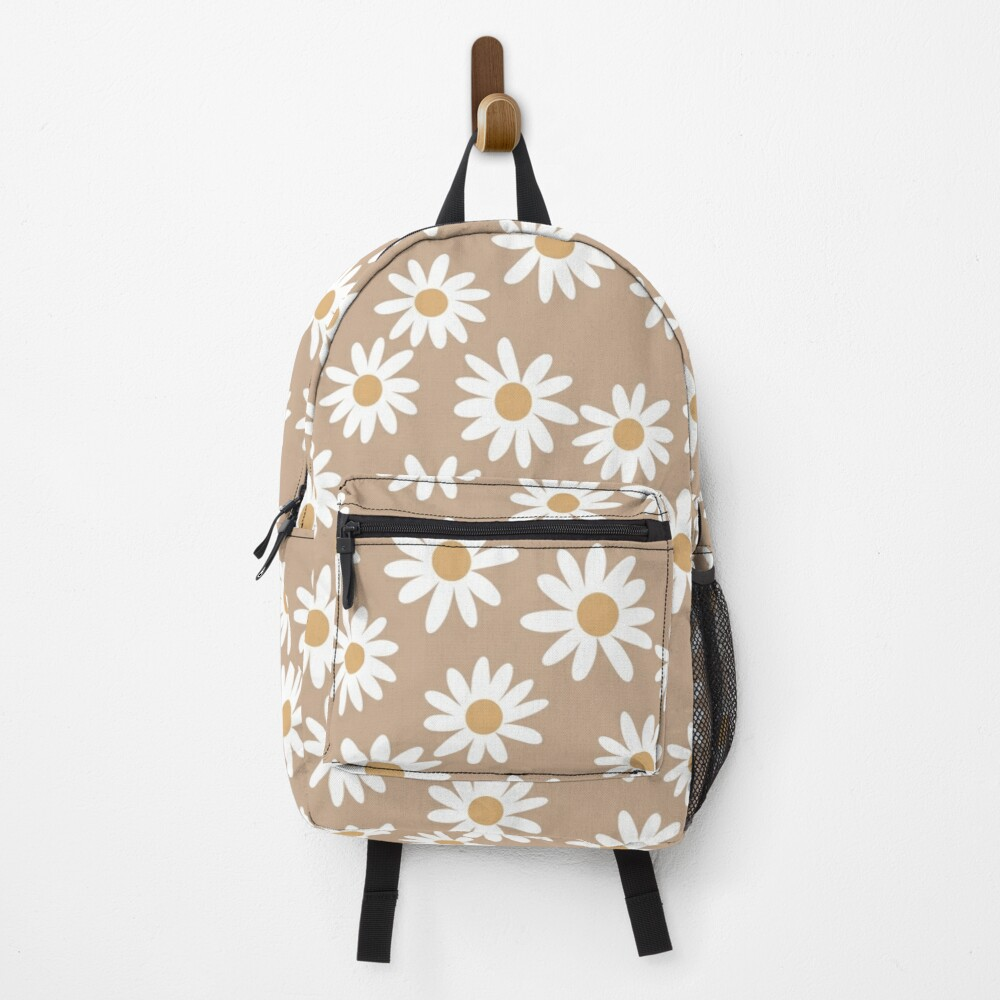 Light Daisies - daisy pattern, floral, florals, flower, retro, vintage, 70s, camel, brown, rust, earthy, terracotta Backpack