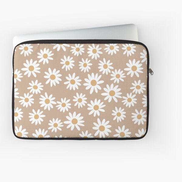 Light Daisies - daisy pattern, floral, florals, flower, retro, vintage, 70s, camel, brown, rust, earthy, terracotta Laptop Sleeve