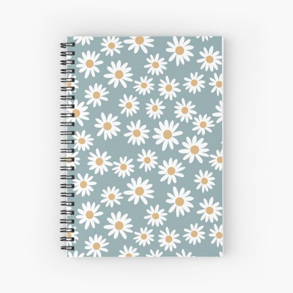 Blue Daisies - daisy pattern, floral, florals, flower, retro, vintage, 70s, camel, brown, rust, earthy, terracotta Spiral Notebook