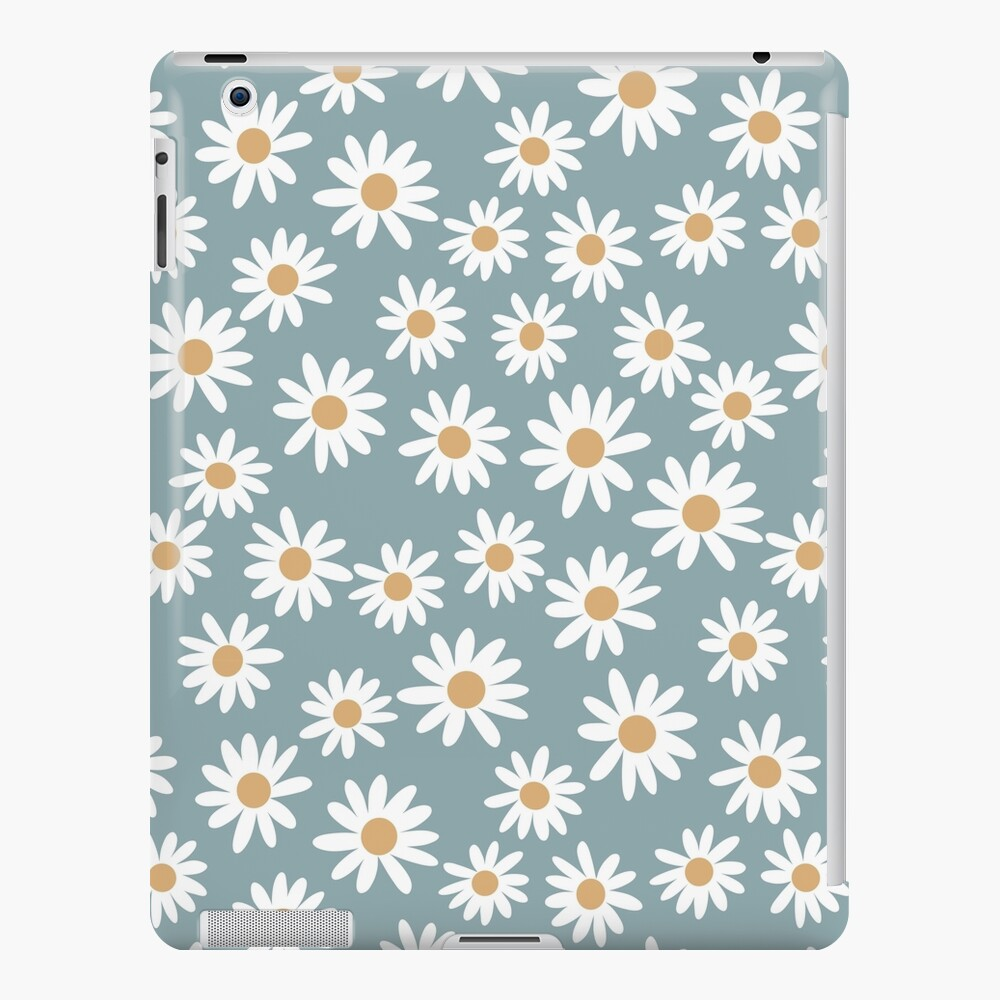 Blue Daisies - daisy pattern, floral, florals, flower, retro, vintage, 70s, camel, brown, rust, earthy, terracotta iPad Case & Skin