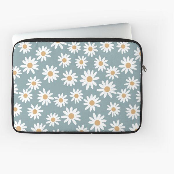 Blue Daisies - daisy pattern, floral, florals, flower, retro, vintage, 70s, camel, brown, rust, earthy, terracotta Laptop Sleeve