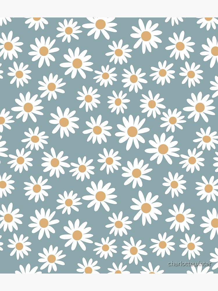 Blue Daisies - daisy pattern, floral, florals, flower, retro, vintage, 70s, camel, brown, rust, earthy, terracotta by charlottewinter