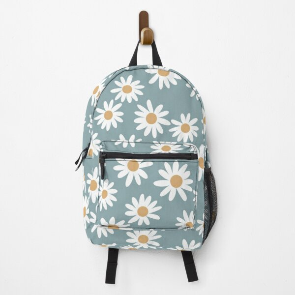 Blue Daisies - daisy pattern, floral, florals, flower, retro, vintage, 70s, camel, brown, rust, earthy, terracotta Backpack