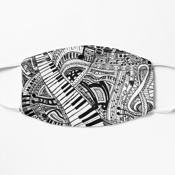 Classical music doodle with piano keyboard Mask