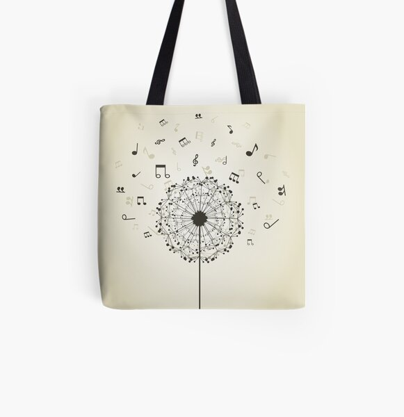 Music a dandelion All Over Print Tote Bag