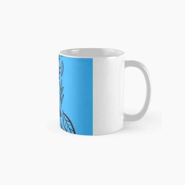 Blue Tribal Pattern Flower Classic Mug