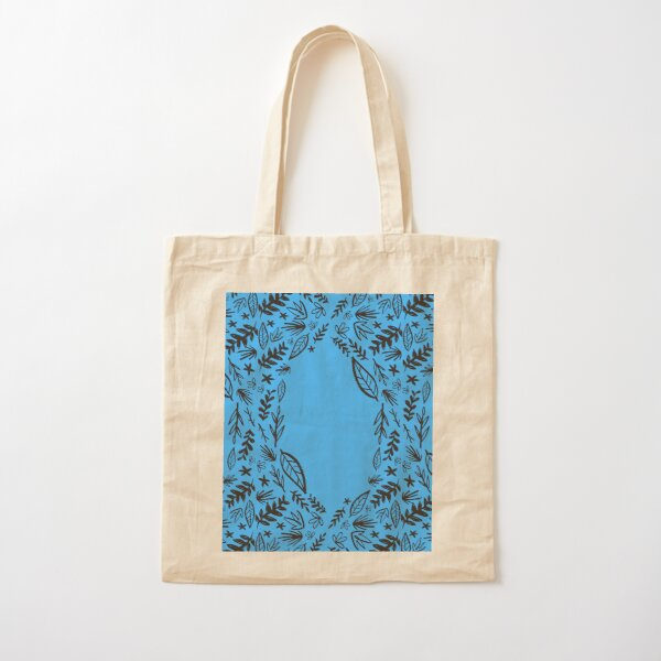 Blue Tribal Pattern Flower Cotton Tote Bag