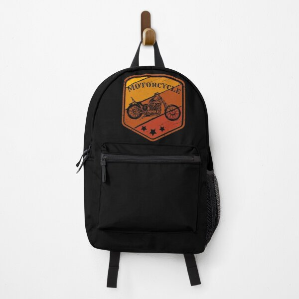 Vintage Motorcycle with Retro Background for Bikers Backpack