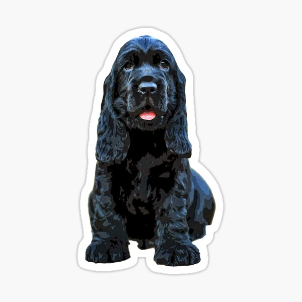 Black English Cocker Spaniel Puppy Dog Sticker