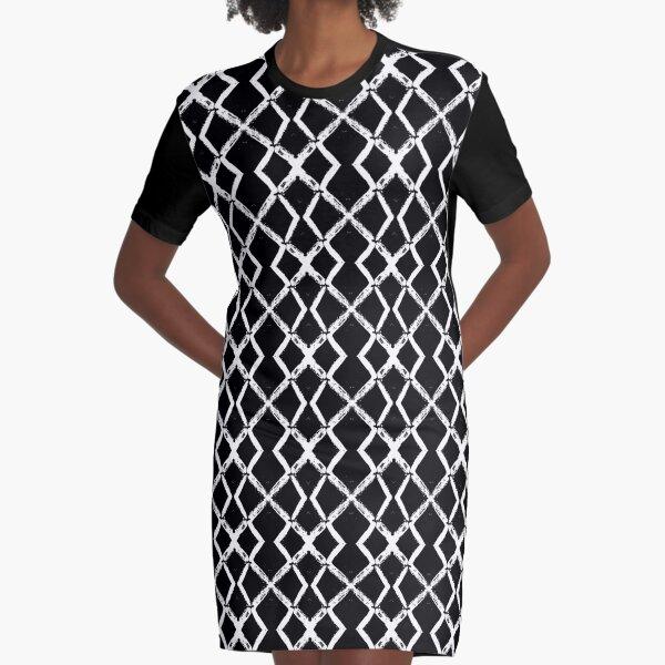 Schwarz mit weißem Netzmuster Graphic T-Shirt Dress