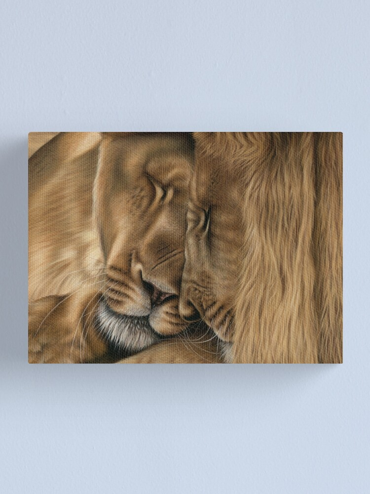 Alternate view of Wildlife Artwork of two lions Canvas Print