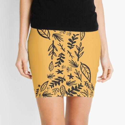 Yellow Tribal Pattern Flower Mini Skirt