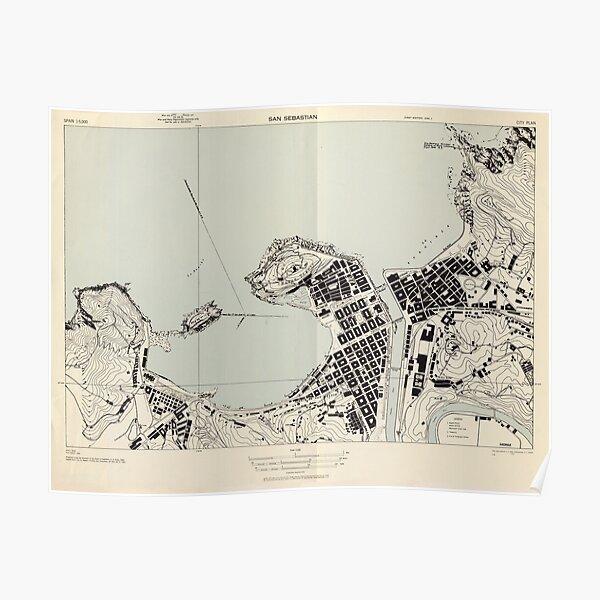 Vintage mapa de San Sebastián España (1943) Póster