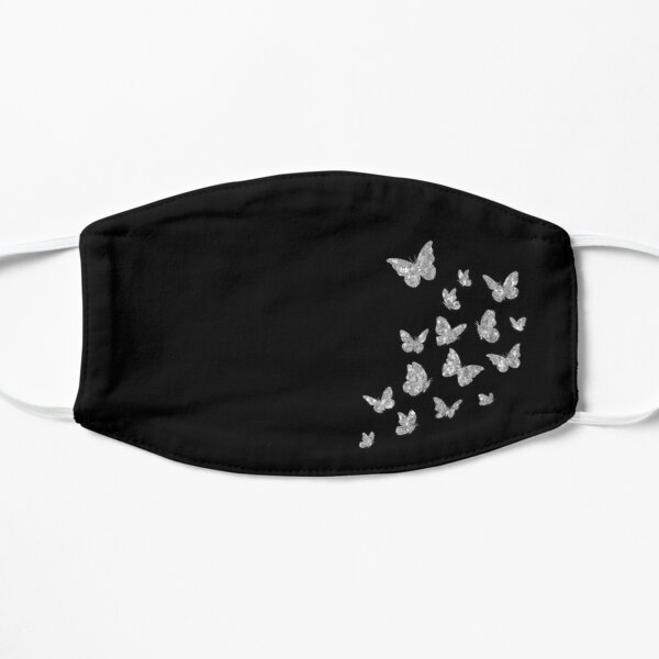 Butterfly, Butterflies, Silver Sparkles, Dream, Colorful Brilliant, Cute Monarch, Beautiful Glitters, Black Background Flat Mask