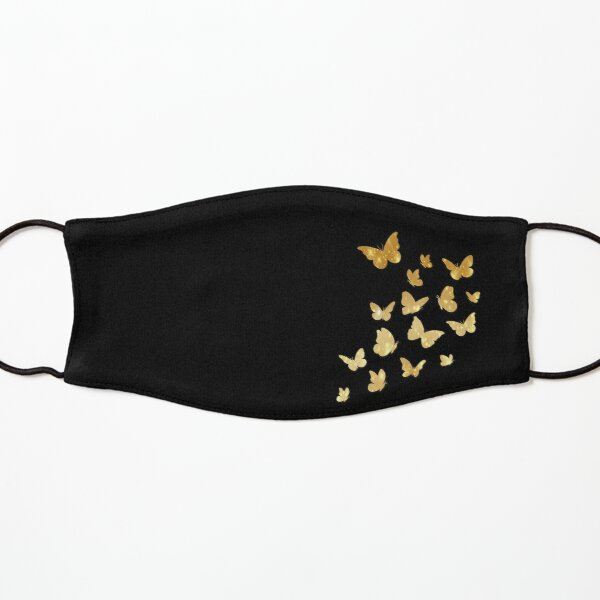 Butterfly, Butterflies, Gold Sparkles, Colorful Insects, Cute Monarch, Beautiful Colors, Brilliant, Black Background Kids Mask