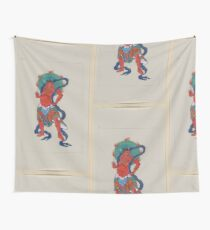 Mythological Buddhist or Hindu figure full length standing facing right with long blue sash and flaming green halo behind his head 001 Wall Tapestry