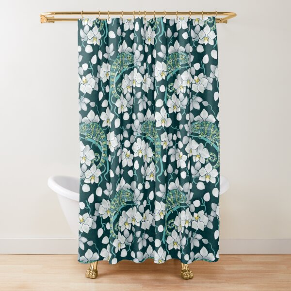 chameleons and orchids  Shower Curtain