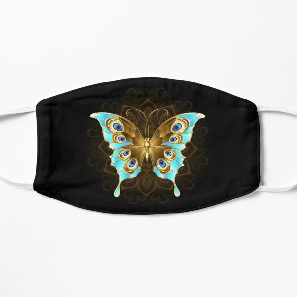 Golden Butterfly with Turquoise Flat Mask