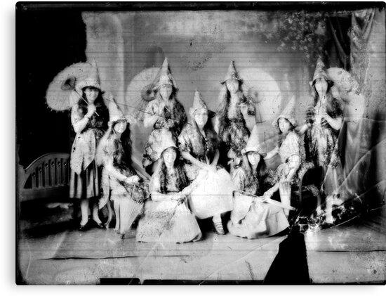 Concert girls photograph - glass negative by David Fraser