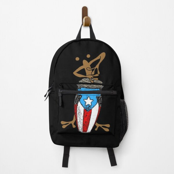 Coquí Taíno playing the Puerto Rican Flag Conga Backpack