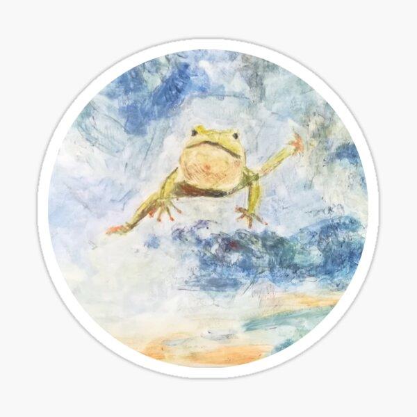 Fliegender tanzender Frosch in den Wolken Sticker