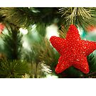 Christmas card with red star on Christmas tree by Cheryl Hall